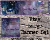 ETSY LARGE COVER and Shop Icon-Mystical Fantasy Cover Photo-Premade Fantasy Etsy Set-New Age Etsy-Etsy Large Cover-Unicorn, Firefly, #103