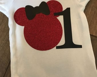 Minnie red glitter first birthday onesie