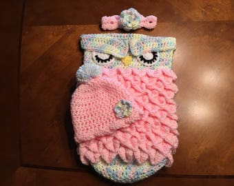 Crochet Owl Cocoon set, Photo Prop, Bunting, Baby Gift