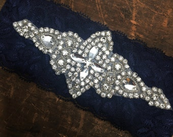 Something Blue Navy Wedding Garter NO SLIP grip vintage rhinestones