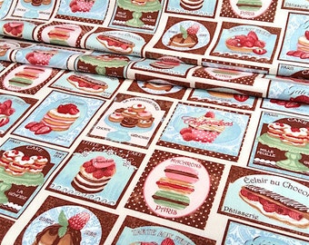 Fabric badges and blue cupcakes - dimension for 1 quantity 50 cm x 160 cm - editor French MFTA - 100% cotton