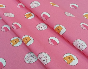 Fabric Hedgehog, Beaver, pink squirrel - size to 1 quantity 50 cm x 180 cm - 100% cotton