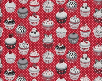 Acrylic fabric coating cupcakes red and grey - size to 1 quantity 50 cm x 160 cm - 100% cotton coating