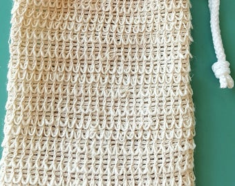 "XL Natural Sisal Soap Pouch / Soap Saver Sack /  6"" x 4.5"" / Great Natural Exfoliation!"