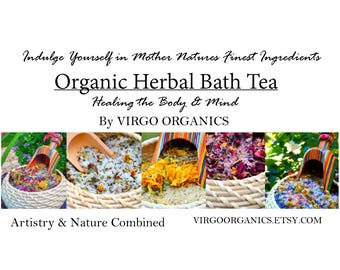 Variety Set of 5 Different ORGANIC Herbal Bath Teas / By Virgo Organics / 1.75 LBS / Healing AROMATHERAPY / Gluten Free gift / Bath Heaven!