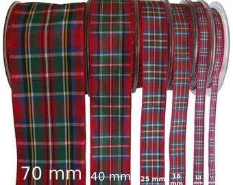 Royal Stewart Tartan Ribbon - CUT LENGTHS.  7/10/16/25/40 & 70mm Widths. .... (25m reels also available - pls. see REELS listing)