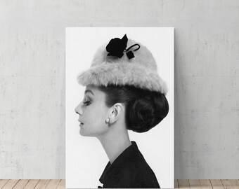 Audrey Hepburn Side Profile With Modern Hat Canvas Print Home Decor Iconic Wall Art