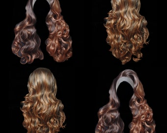 Brunette ginger ombre lace front wig