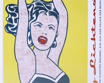 Roy Lichtenstein print - exhibition poster - pop art - Girl with ball - 1995 - offset lithograph - mint condition