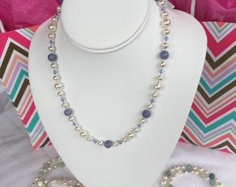 Gorgeous Periwinkle Aquamarine, Swarovski Crystal and Swarovski Pearl Affirmation Necklace