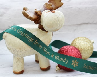25mm Personalised Christmas Ribbon, Satin Ribbon, Etsy Shop Ribbon, Craft Supplies, Christmas Ribbon, Shop Accessories