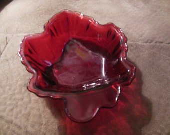 Used Vintage red Maple Leaf candy dish