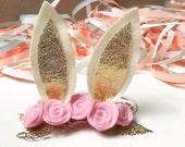 Bunny Ear Headband, Easter headband, felt flower headband.