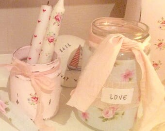 Shabby Chic Tea light holder FLEURS Vintagestyle fabric Jar / Cath Kidston style / Handcrafted
