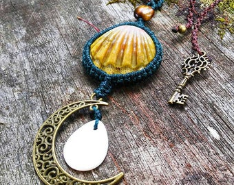 Sunrise Shell Macrame Necklace with Brass Moon Charm, Mother of Pearl and Raw Quartz Crystal