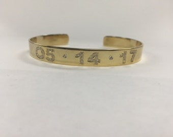 14k Skinny Custom Diamond Date Cuff Bracelet