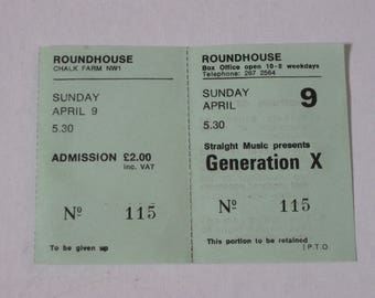 PUNK ROCK, Generation X, RARE Original London Concert Ticket, 1978