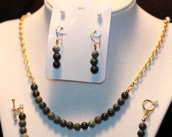 Russian Serpentine 3 Piece Jewelry Set