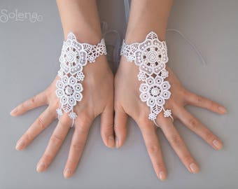 White Wedding Fingerless Gloves Spring | Bridal Mittens | Exquisite ivory lace Wrist Cuffs | Bridal | sheer glove | stylish accessory floral
