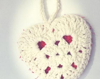 READY TO GO/ Hook/ Crochet/ heart shape tawashi/ scrub/ scrubbie/