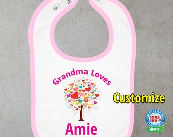 Grandma Loves Bib, Baby Bib, Personalized Baby Bib, Personalized Bib
