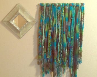 Beautiful Handmade Green / Blue Textile Wall Hanging