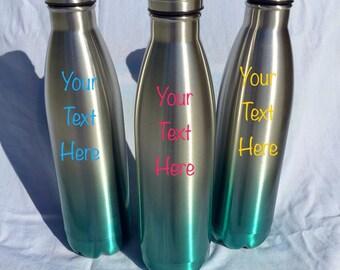 Monogrammed stainless steel water bottle, personalized stainless steel water bottle, wedding party gift, vacuum sealed water bottle