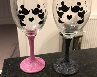 Black and Pink Set Mickey and Minnie Style Glitter Glass great engagement, wedding, valentines,birthday Present