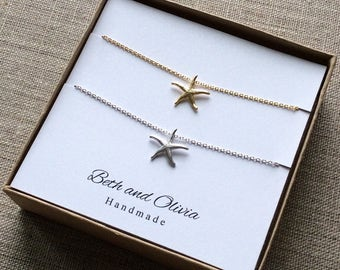 Starfish Necklace Set, two starfish necklaces, starfish necklace gift set, starfish charm jewelry, Starfish pendant, best friend jewelry