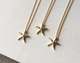 Set of 3 Bridesmaid necklaces, beach wedding necklac, starfish necklaces, wedding jewelry, bridesmaid jewelry set, gold bridesmaid necklace