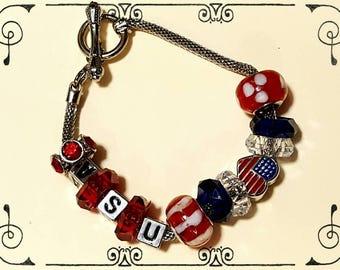 USA Red, White, & Blue Silver Charm Bracelet