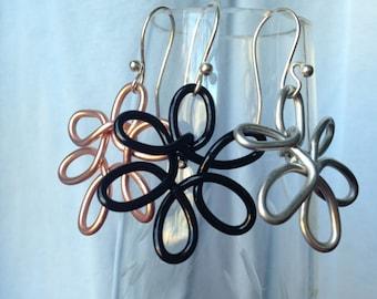 Hand-tooled Flower Earrings