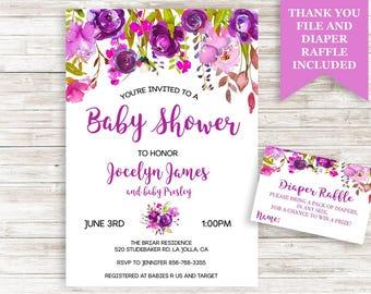 Purple Baby Shower Invitation Floral Watercolor Garden Flowers Invite 5x7 Digital Personalized