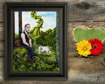 Jack and the beanstalk (8 x 10), Fairytale print, Fantasy print, Storybook wall art, Whimsical elements, Outdoor artwork, Into the Woods