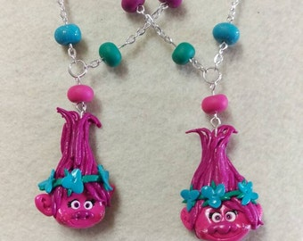 Trolls inspire necklace, poppy. Handmade
