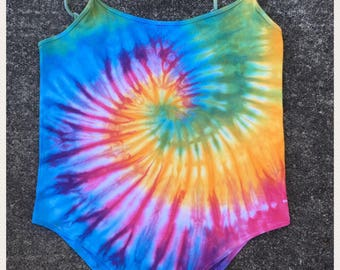 Multicoloured bright rainbow tie dye bodysuit multicoloured  rave  festival  fashion clothing clubbing hippie boho hipster onsie leotard