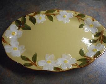 "Stangl White Dogwood 14"" Platter - Vintage"