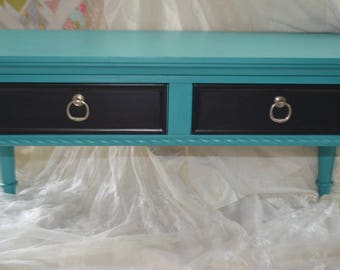 Teal Coffee Table with Drawres