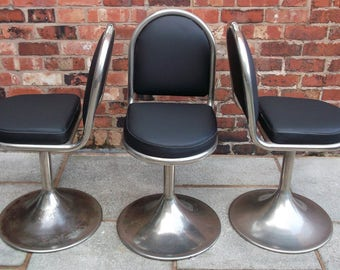 Vintage Swivel Chair , Retro Black Cream Stitching, Three With Solid Metal Base ,Office Or Industrial Chair.