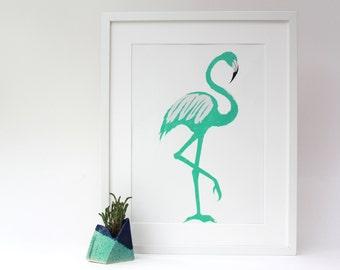 Metallic flamingo screen print a3+, fabriano paper, art print, animal print