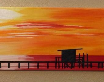 Nautical Decor, Coastal Home Decor, Seaside Painting, Coastal Wall Art, Beach Art, Canvas Painting, Ocean Art Painting, Sunset Pier