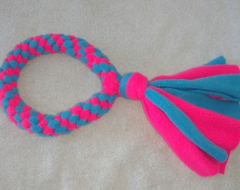 Fleece dog toy-dog tug toy-in neon pink and light blue fabric