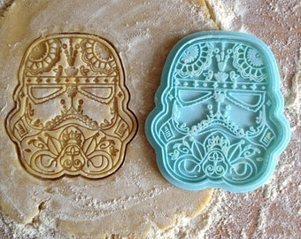 Stormtrooper cookie cutter. Star Wars cookie stamp. Stormtrooper helmet cookies.  Day of the Dead Mexico style