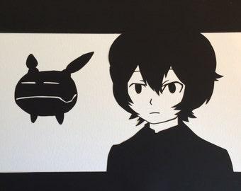 Yuma Kuga & Replica // World Trigger // handcut paper art // framed