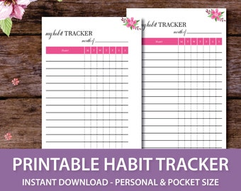 Habit Tracker Printable Planner Insert, Habit Insert, Monthly Habit Chart, Monthly Habit Tracker,Printable Habit Planner,Personal and Pocket