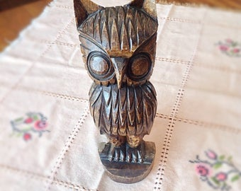 Vintage wood carved owl