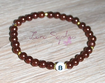 Pearl bracelet Brown with letters