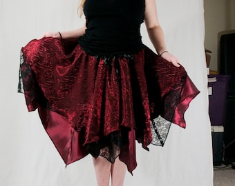 Pixie Skirt - Red and Black - Size S