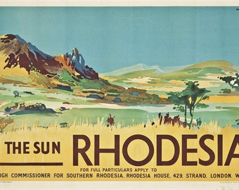 Vintage Rhodesia Southern Africa Tourism Poster A3 Print