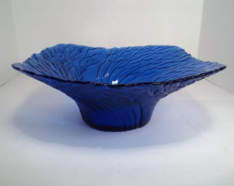 Cobalt Blue Textured Glass Decorative Bowl, Serving Bowl, Square Bowl, Leaf Textured Bowl, Blown Glass, Handcrafted